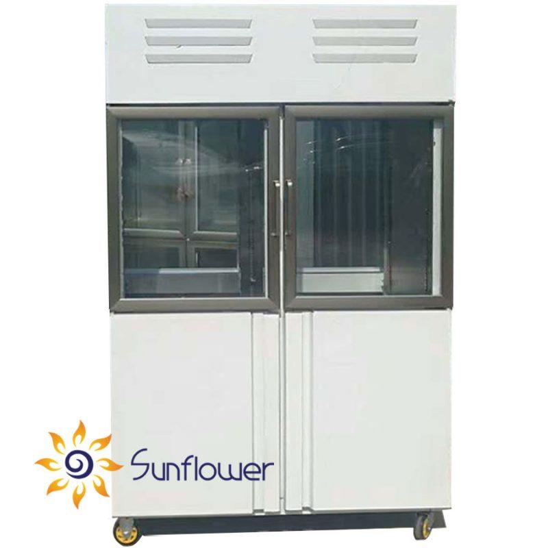 Tủ bảo ôn 2 cánh được thiết kế hiện đại với 2 cánh kính cường lực cao cấp, bảo ôn nhiệt tốt và rất dễ quan sát thực phẩm bên trong.