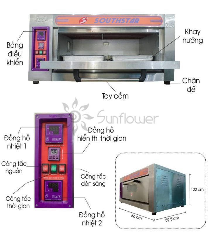 Cấu tạo lò nướng 1 tầng 2 khay, rất dễ sử dụng