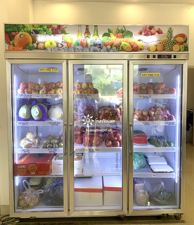 Tủ mát 3 cánh kính đảm bảo nền nhiệt lý tưởng để bảo quản trái cây, thực phẩm luôn được tươi ngon trong nhiều ngày