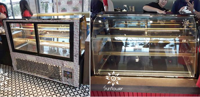 Tủ bánh ngọt kính cong màu đen