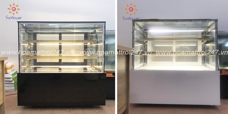 Tủ bánh kính vuông 3 tầng có 2 màu trắng và đen để bạn có thể dễ dàng lựa chọn mẫu tủ phù hợp với không gian cửa hàng.