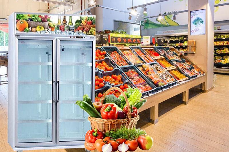 Tủ mát 2 cánh kính được sử dụng phổ biến tại các siêu thị hiện nay