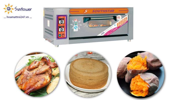 Lò 1 tầng 2 khay có thể nướng nhiều loại thực phẩm như bánh gato, gà, khoai lang mật...