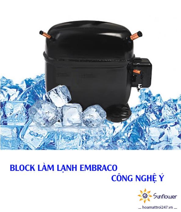 Block làm lạnh Embraco công nghệ Ý có hiệu quả làm lạnh nhanh và bền bỉ bậc nhất hiện nay