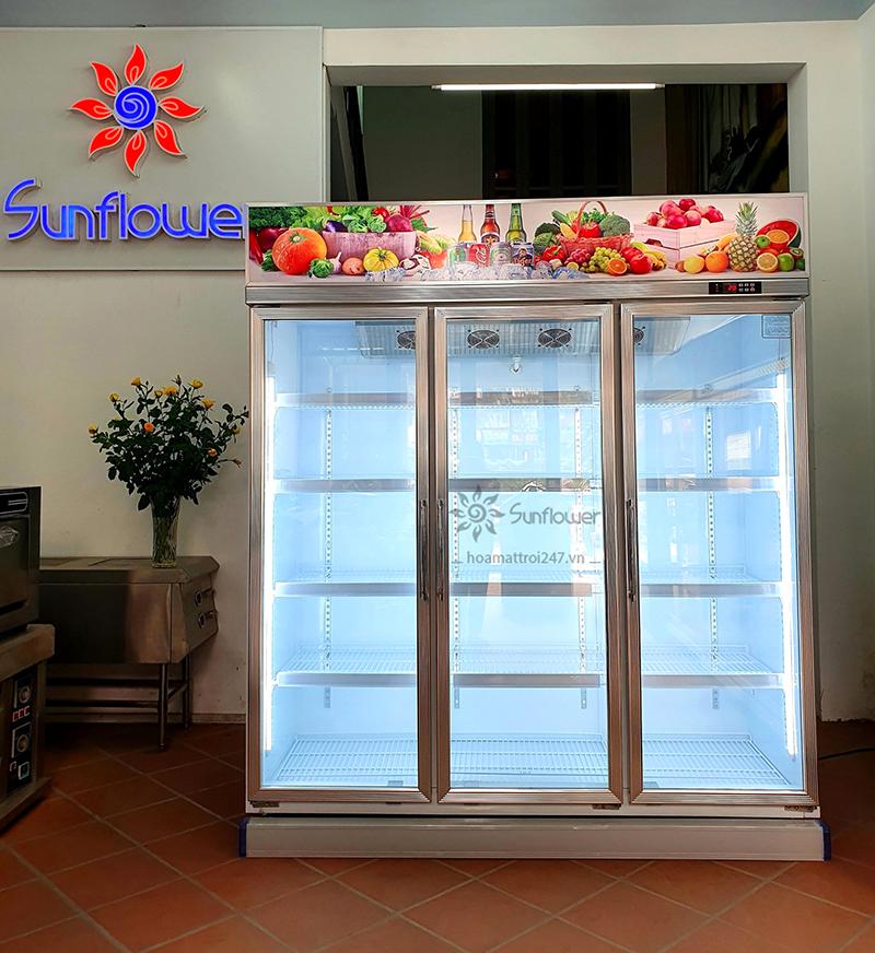 Tủ mát 3 cánh có kích thước siêu lớn nên có thể bảo quản nhiều loại thực phẩm, trái cây, bánh...