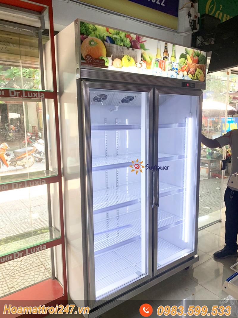 Tủ mát 2 cánh kính 1000 lit được lắp đặt tại nhà khách hàng ở Bắc Ninh.