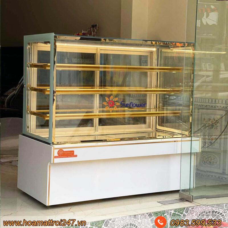 Tủ trưng bày bánh kem 4 tầng Sunflower có kiểu dáng hiện đại, vuông vắn, độ bền cao